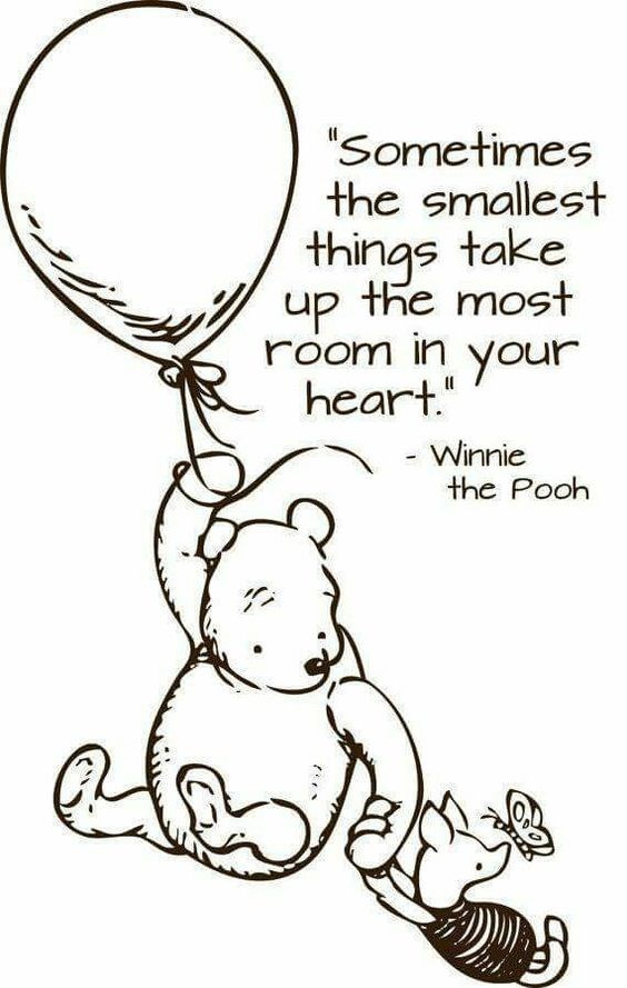 "Line art - Sometimes the smallest things take up the most room in your heart."" - Winnie the Pooh"