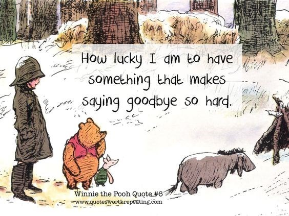 Cartoon - How lucky I am to have something that makes So hard saying goodbye Winnie the Pooh Quote # 61 www.quoteswonthrepeating.com