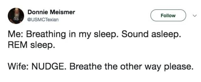 Text - Donnie Meismer Follow QUSMCTexian Me: Breathing in my sleep. Sound asleep REM sleep Wife: NUDGE. Breathe the other way please