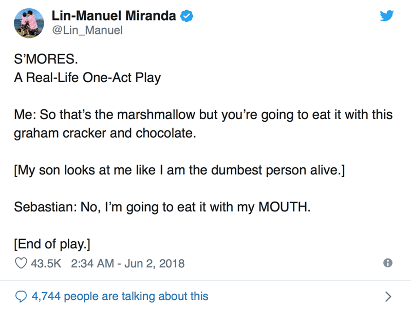 Text - Lin-Manuel Miranda @Lin_Manuel S'MORES. A Real-Life One-Act Play Me: So that's the marshmallow but you're going to eat it with this graham cracker and chocolate [My son looks at me like I am the dumbest person alive.] Sebastian: No, I'm going to eat it with my MOUTH [End of play.] 43.5K 2:34 AM - Jun 2, 2018 4,744 people are talking about this