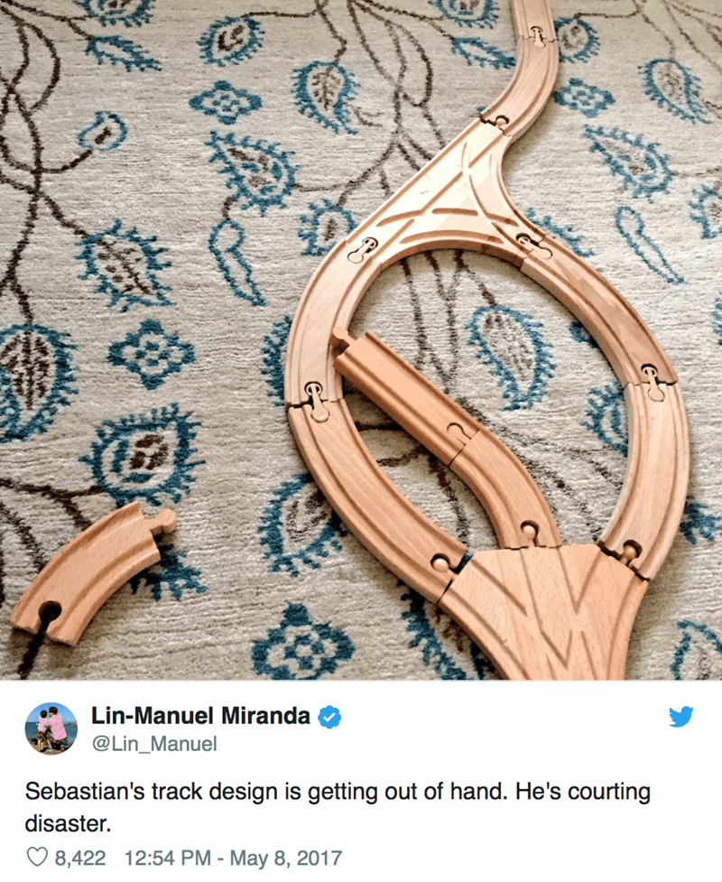 Fashion accessory - Lin-Manuel Miranda @Lin_Manuel Sebastian's track design is getting out of hand. He's courting disaster. 8,422 12:54 PM - May 8, 2017