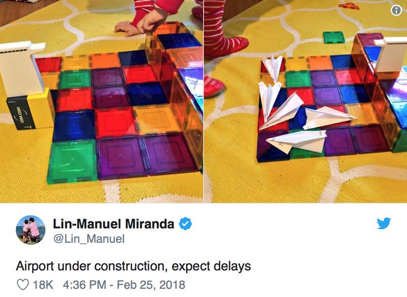 Colorfulness - Lin-Manuel Miranda @Lin_Manuel Airport under construction, expect delays 18K 4:36 PM - Feb 25, 2018 CMA COM