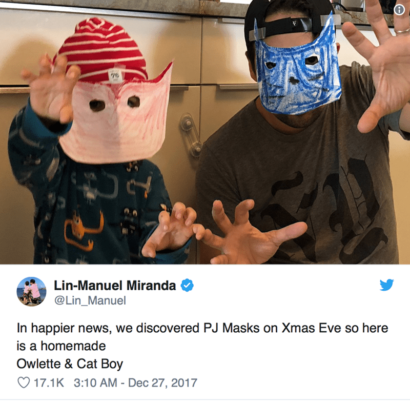 Helmet - Lin-Manuel Miranda @Lin_Manuel In happier news, we discovered PJ Masks on Xmas Eve so here is a homemade Owlette & Cat Boy 17.1K 3:10 AM - Dec 27, 2017