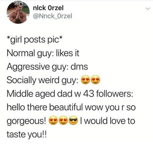 Text - nlck Orzel @Nnck Orzel *girl posts pic* Normal guy: likes it Aggressive guy: dms Socially weird guy: Middle aged dad w 43 followers: hello there beautiful wow you r so Iwould love to gorgeous! taste you!!