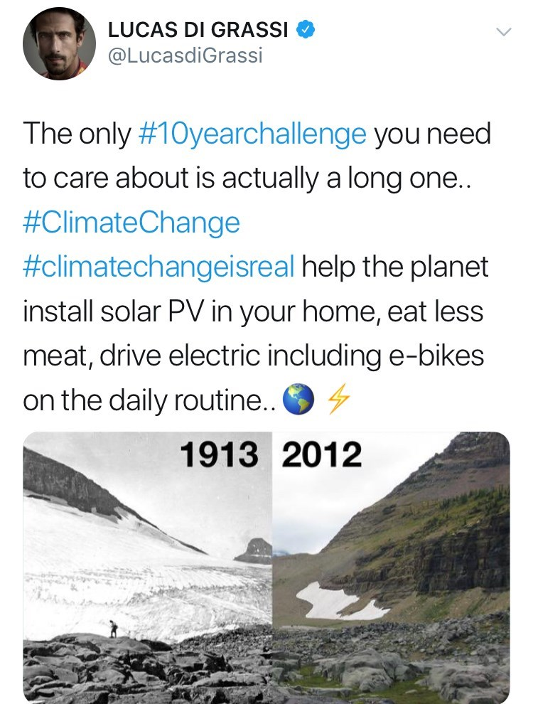 Text - LUCAS DI GRASSI @LucasdiGrassi The only #10yearchallenge you need to care about is actually a long one.. #ClimateChange #climatechangeisreal help the planet install solar PV in your home, eat less meat, drive electric including e-bikes on the daily routine.. 1913 2012