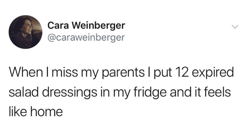 Text - Cara Weinberger @caraweinberger When I miss my parents I put 12 expired salad dressings in my fridge and it feels like home