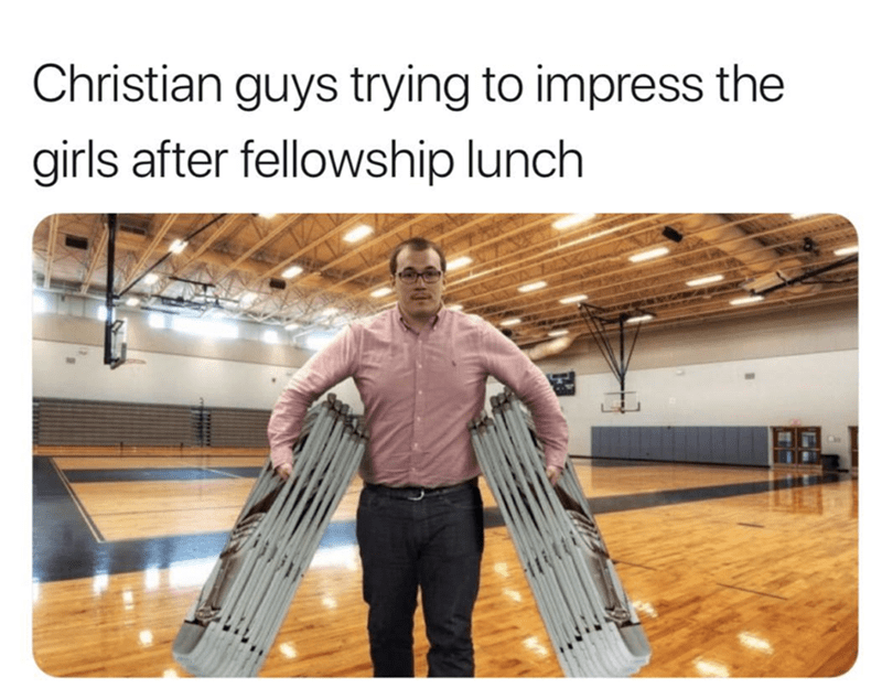 Standing - Christian guys trying to impress the girls after fellowship lunch
