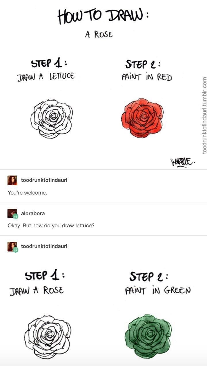 Text - HOw TO TRAW A ROSE STEP STEP L FANT IN RED : DRAW A LETTUCE toodrunktofindaurl You're welcome. alorabora Okay. But how do you draw lettuce? toodrunktofindaurl STEP DRAW AROSE STEP L PAINT IN GREEN toodrunktofindaurl. I.tumblr