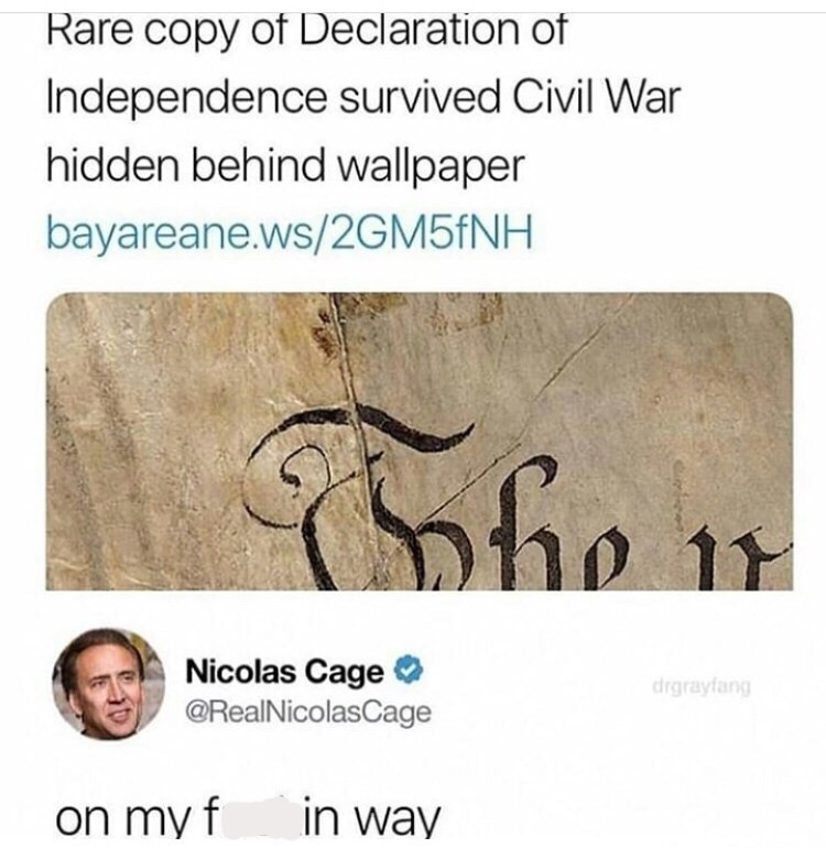 Text - Rare copy of Declaration of Independence survived Civil War hidden behind wallpaper bayareane.ws/2GM5fNH 11 Nicolas Cage @RealNicolasCage drgrayfang in way on my f