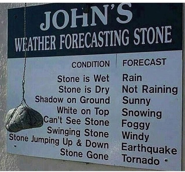literal jokes - Font - JOHN'S WEATHER FORECASTING STONE CONDITION FORECAST Stone is Wet Rain Stone is Dry Not Raining Shadow on Ground Sunny White on Top Snowing Can't See Stone Foggy Swinging Stone Windy Stone Jumping Up & Down Earthquake Stone Gone Tornado