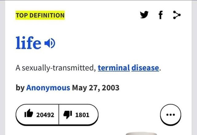 literal jokes - Text - y f TOP DEFINITION life A sexually-transmitted, terminal disease. by Anonymous May 27, 2003 I20492 1801