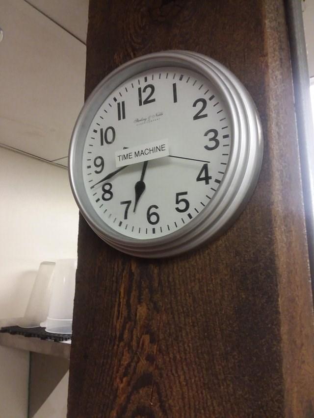 literal jokes - Clock - 22 F10 TIME MACHINE 4C 6 5 IIII INIIIII