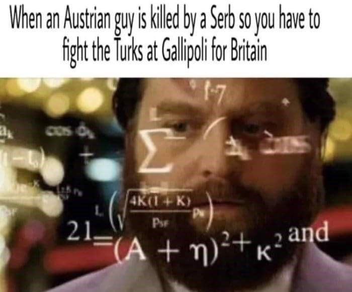 history meme - Text - When an Austrianguy is kile b a Ser so you have to figh the Turs at Galpifi t Cos 4K(1+K) P 21 (An)22 and K