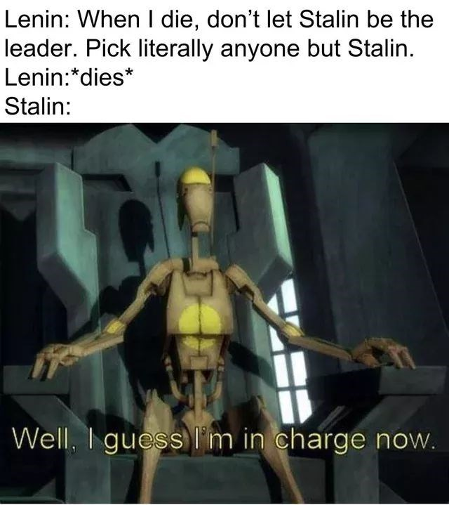 history meme - Fictional character - Lenin: When I die, don't let Stalin be the leader. Pick literally anyone but Stalin Lenin:*dies* Stalin: Well, I guess 'm in charge now.