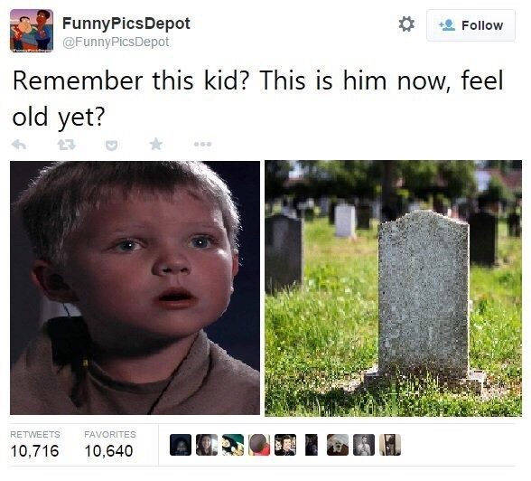 Text - FunnyPicsDepot Follow @FunnyPicsDepot Remember this kid? This is him now, feel old yet? RETWEETS FAVORITES 10,716 10,640