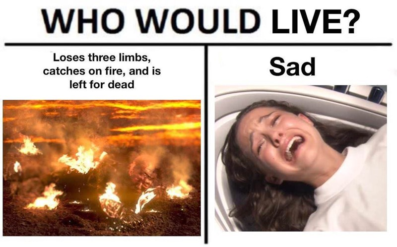 Fire - WHO WOULD LIVE? Loses three limbs, catches on fire, and is Sad left for dead