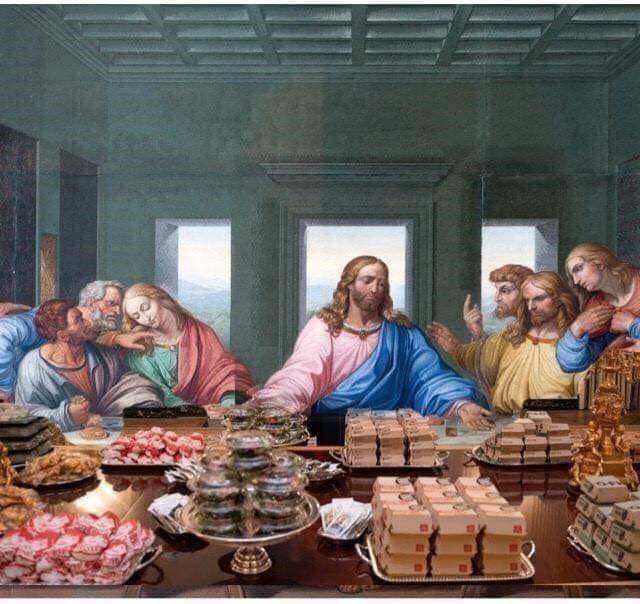 Painting of The Last Supper with Donald Trump's White House fast food meal