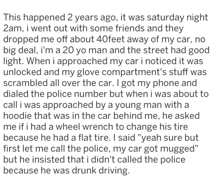 screenshot of text from reddit about guy changing stranger's tire at night
