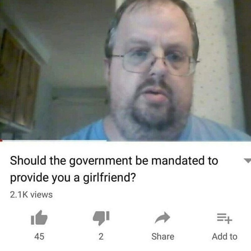 cringey neckbeard - Text - Should the government be mandated to provide you a girlfriend? 2.1K views E+ Add to Share 45 2