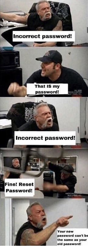 Photo caption - Incorrect password! That IS my password! Incorrect password! Fine! Reset Password! Your new password can't be the same as your old password! County