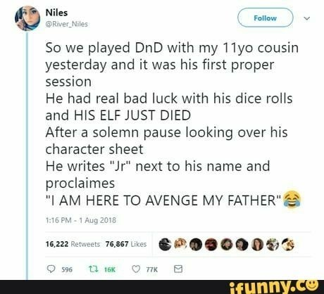 funny meme about kid finding creative ways to continue dungeons and dragons campaign