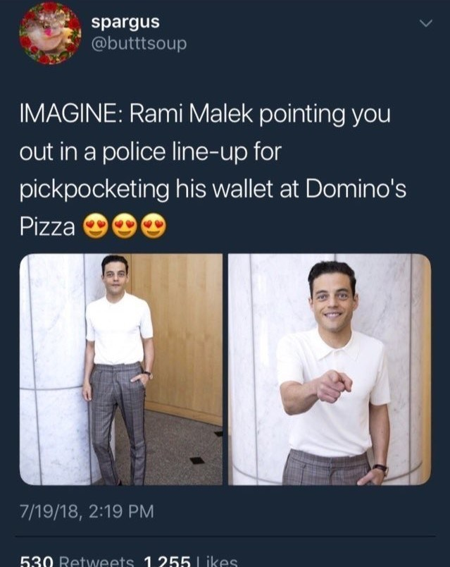funny meme about weird fantasy involving Rami Malek