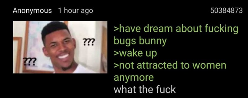 funny meme of a 4chan post about being attracted to Bugs Bunny