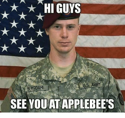 """Caption that reads, """"Hi guys, see you at Applebees"""" over a pic of a US army private"""