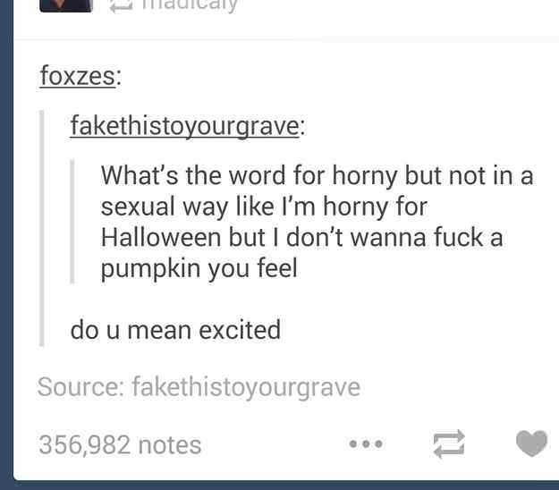 funny meme of a Tumblr thread about being excited