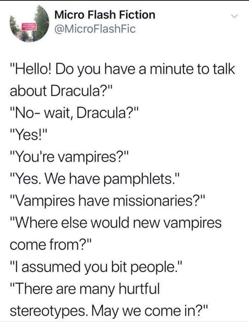 funny meme about vampire missionaries