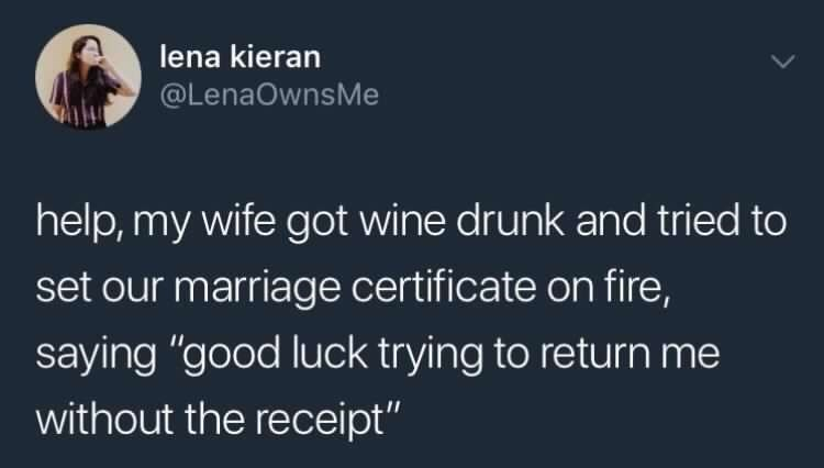 funny meme about a drunk wife