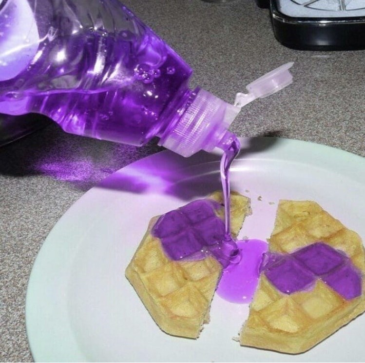 cursed image - Purple soap on waffles