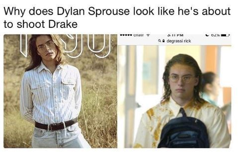 """Caption that reads, """"Why does Dylan Sprouse look like he's about to shoot Drake"""" above a pic of Dylan Sprouse next to a pic of Rick looking similar"""