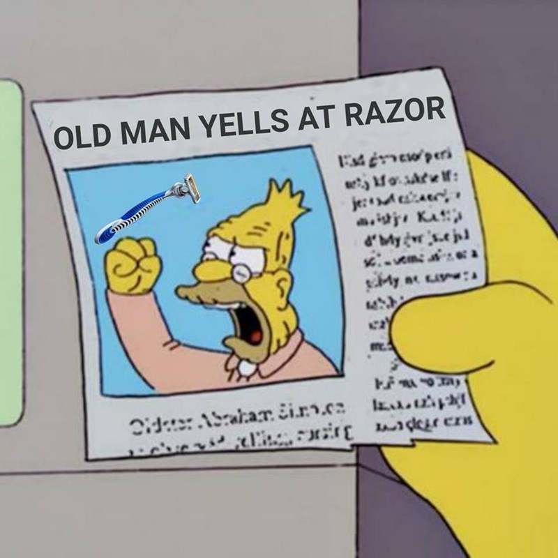 Funny simpsons meme about gillette razor commercial controversy.