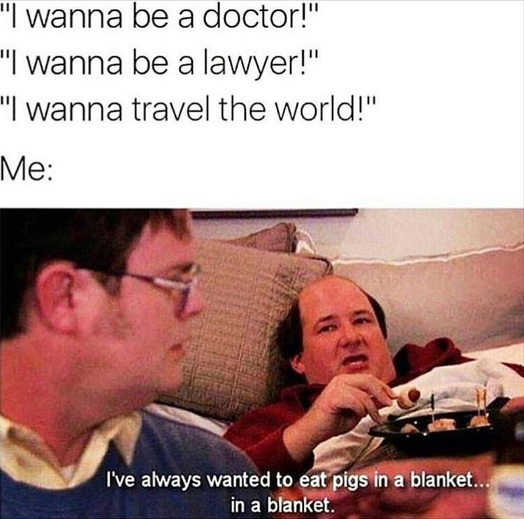 Funny meme about the office, pigs in blankets.