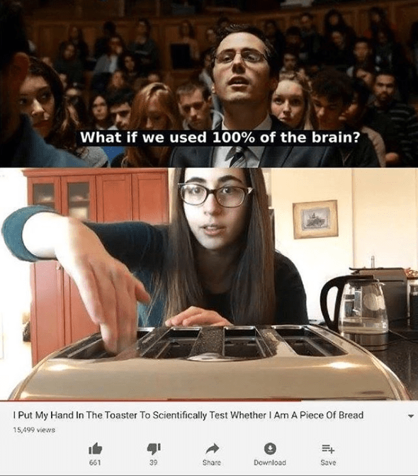 Funny meme about sticking hand into toaster to prove not bread.