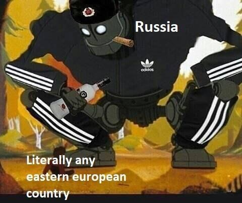 "Still of Iron Giant wearing a track suit, who represents ""Russia"" leaning over boy, who represents ""Literally any Eastern European country"""