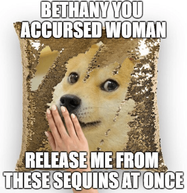 Funny meme about doge stuck in sequin pillow