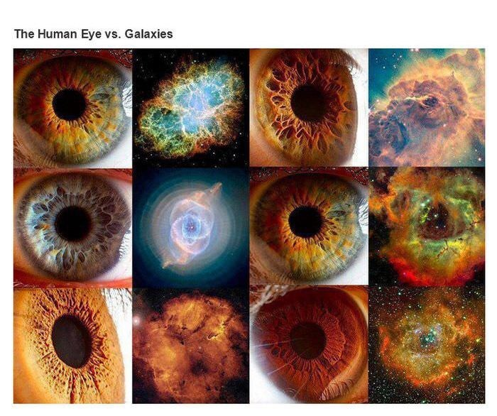 comparisons between close-up pics of human eyes and galaxies in space