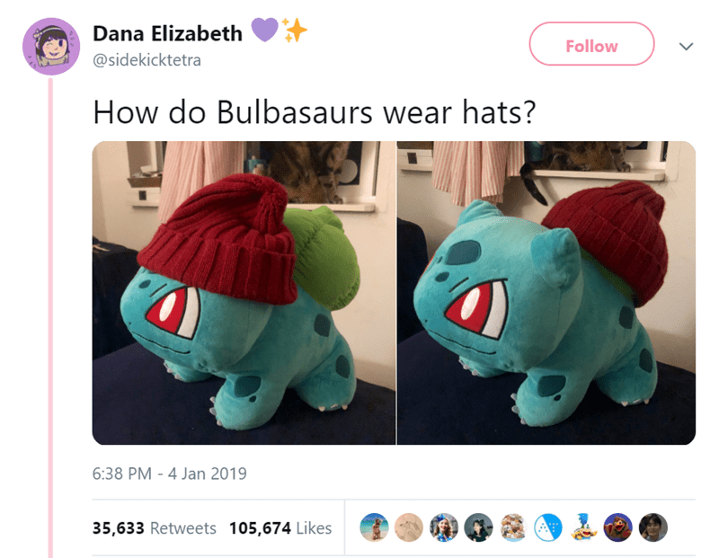 """If a Dog Wore Pants"" meme parody with a Pokemon toy wearing a beanie hat"