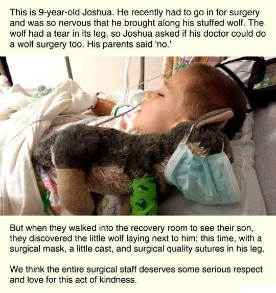 post about a surgeon who fixed a sick boy's stuffed toy