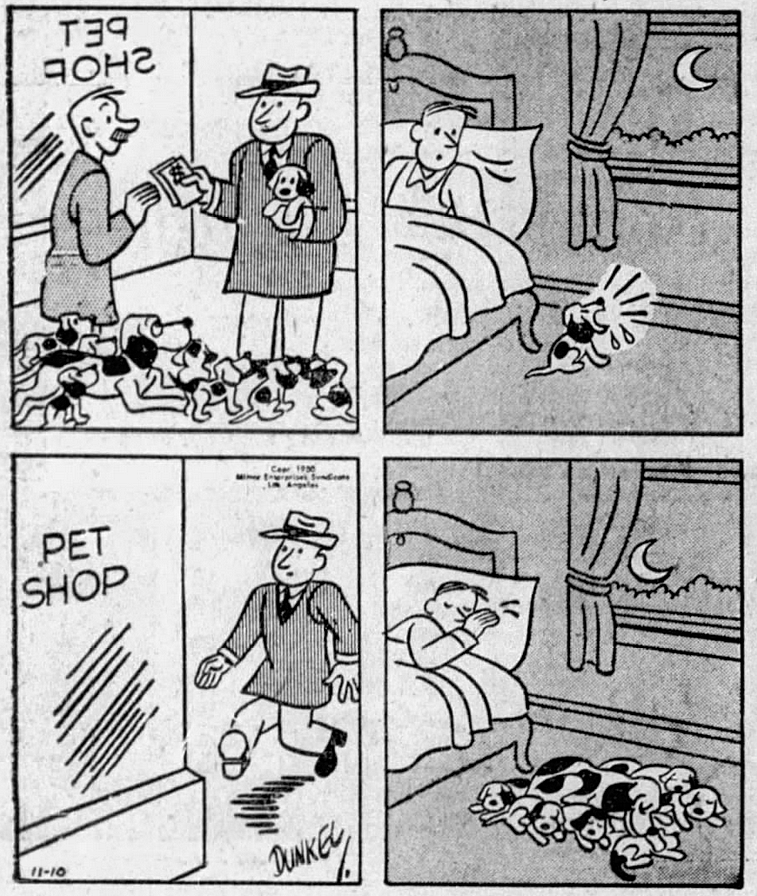 Funny comic about puppies, dogs, 1950s, vintage comics.