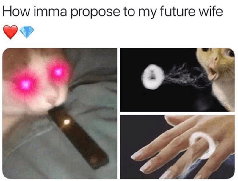 Funny meme about proposing with a vape smoke ring.