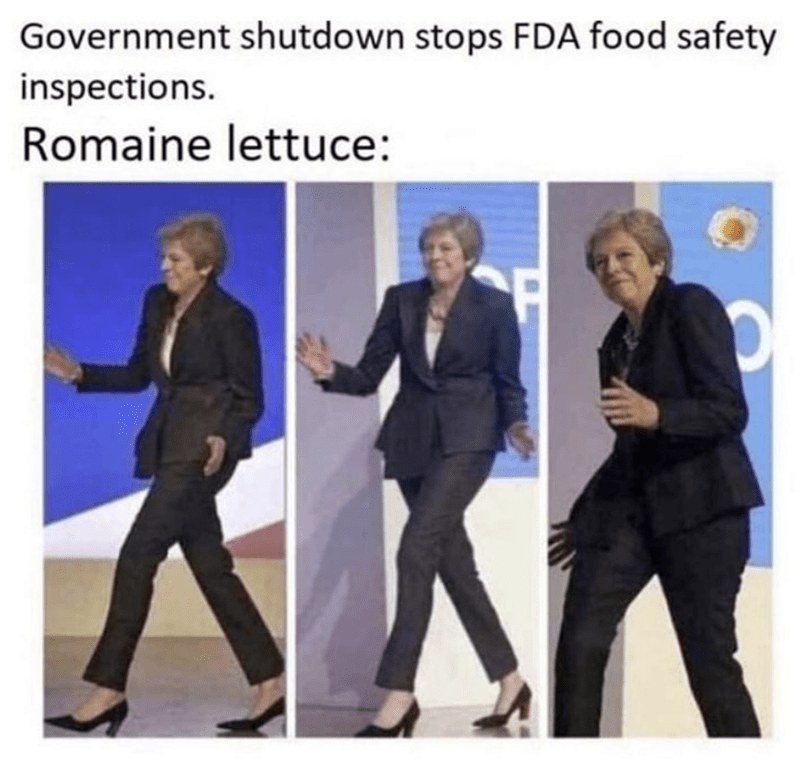 Funny meme about theresa may, romaine lettuce, funny, silly, silly memes.