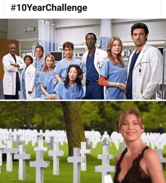 Funny meme about 10 year challenge, grey's anatomy, meredith grey.