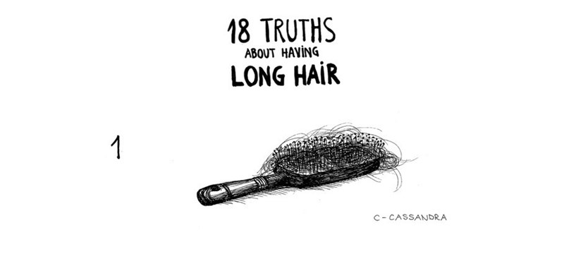 "Comic titled ""18 Truths About Having Long Hair"" above an illustration of a hairbrush"