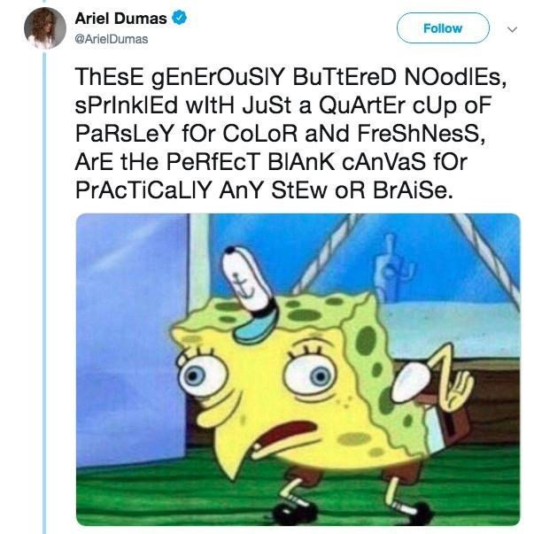 Mocking Spongebob meme about pretentious noodles recipe