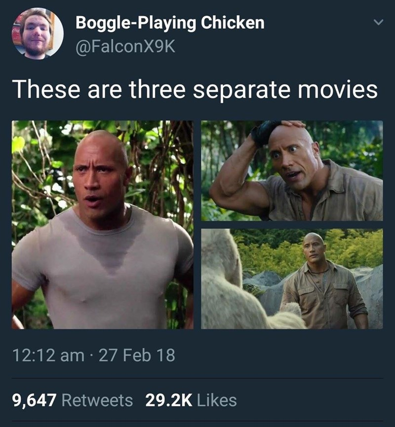 meme - Adaptation - Boggle-Playing Chicken @FalconX9K These are three separate movies 12:12 am 27 Feb 18 9,647 Retweets 29.2K Likes