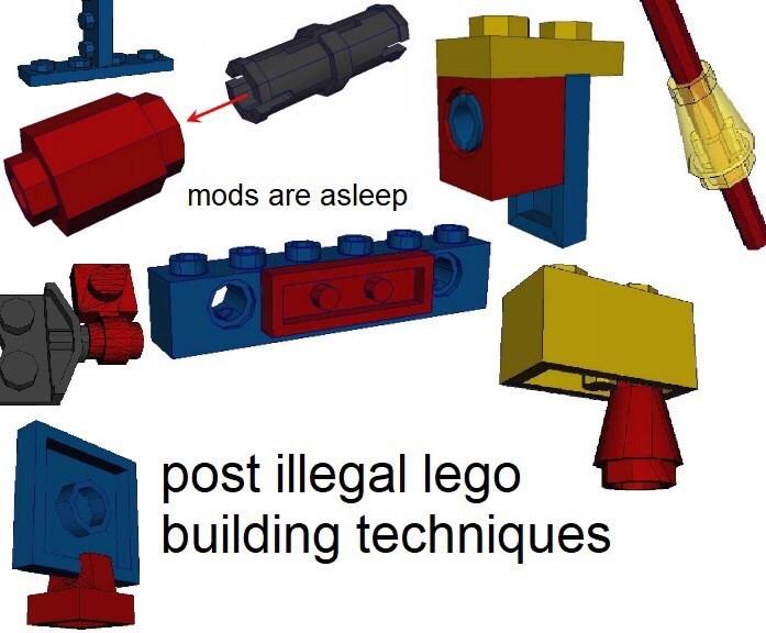 meme - Clip art - mods are asleep post illegal lego building techniques