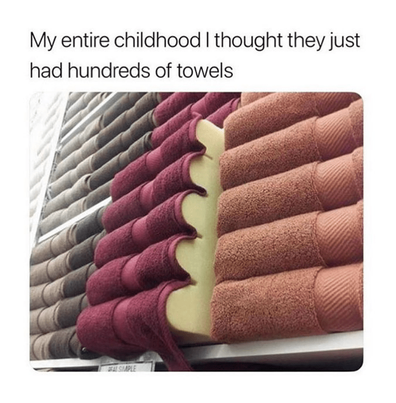 meme - Material property - My entire childhood I thought they just had hundreds of towels AL SMPLE